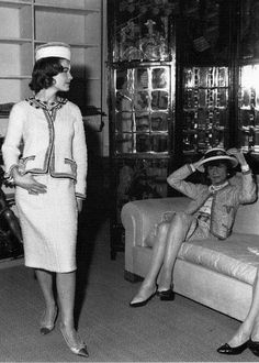 Romy Schneider visits CHANEL 31, Rue Cambon, where Coco fits her for tweed suits 1961