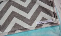 Chevron Minky Blanket Grey and Aqua Double Sided by mylittlemookie,