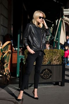 Evening: I always wear black ankle grazers - I think it looks so chic. Nice with the leather jacket