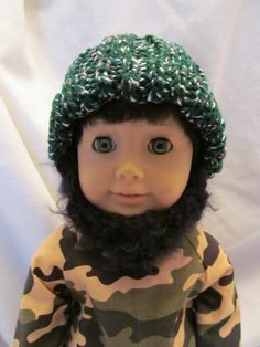 Hand Knit Hat with Beard for 18'' Boy Dolls, Cute Tweedy Green Hat with Black Beard , Fall and Winter Hat , Fun Doll 18'' Hat, Cute Hat by SewManyThingsbyNancy on Etsy