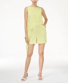 Thalia Sodi Asymmetrical-Overlay Romper, Only at Macy's - Green XXL