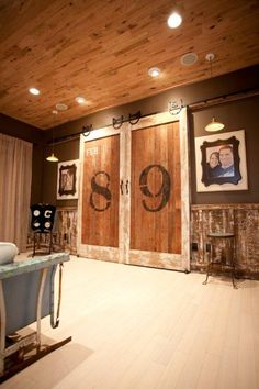 Rustic sliding doors. This is absolutely perfect!