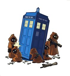 Galaxy Fantasy: Fan art: Jawas de Star Wars robán la Tardis del Doctor Who