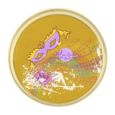 Masquerade Music Color Splash Gold Lapel Pin