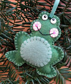 Wool Felt Frog Ornament Hanger In Relish & Moss by FHGoldDesigns