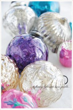 Fresh color inspiration for a new holiday look—brilliant silver • bold aqua • fuchsia pink • pristine white • lovely lavender—a beautiful combination of Christmas ornaments❣ A Creative Mint