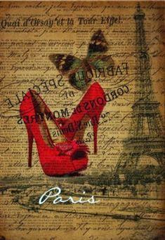 Shop scripts paris eiffel tower stilettos fashionista postcard created by vintagefashionstore. Decoupage Vintage, Collage Vintage, Decoupage Paper, Vintage Paris, French Vintage, Vintage Gifts, Vintage Pictures, Vintage Images, Stencil