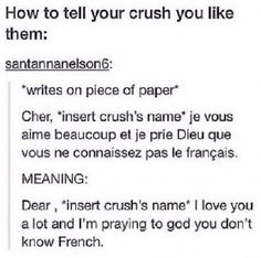 My crush actually knows French soooooo.....>> I did this, his friend knew French, it didn't end well....