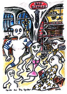 """Unter Gespenstern der Hit """"Big Spuker"""" standesgemäß in den Verliesen von der Marienburg...... Zeichnungen aus dem zweiten Kinderbuch von Michael Klüter """"Der Kleine Ritter und das Abenteuer geht weiter"""", welches demnächst bei Amazon erscheinen wird."""