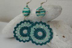Crochet earring crochet earring jewelry large by lindapaula Pendientes de ganchillo - Aretes - Zarcillos