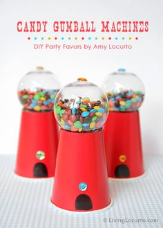 Easy Candy Gumball Machine Party Favors by Amy Locurto from LivingLocurto.com- made with a paper cup! MAKE THEM FOR HOLIDAYS TOO!