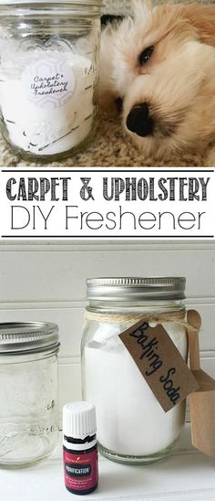 This DIY carpet and upholstery freshener is a simple and green clean way to get rid of any unwanted odors from you carpet and upholstery!