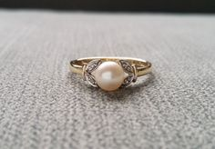 Antique Pearl and Diamond Two Tone Engagement Ring Art Deco Leaf Flower Victorian Art Nouveau  10K White and Yellow Gold Size 7