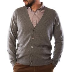 Lona Scott - LONA SCOTT Mens Gents V Neck 100% Cashmere Luxury Buttoned Cardigan MBH: Mid Grey - Dunedin Cashmere