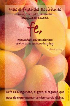 Fe  Mas el fruto del Espíritu es amor, gozo, paz, paciencia, benignidad, bondad, fe, mansedumbre, templanza; contra tales cosas no hay ley.  Gálatas 5:22-23