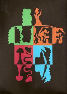 Notan: 4 colored squares mounted on black Positive Kunst, Art Positif, Notan Art, 7th Grade Art, Sculpture Projects, Art Curriculum, School Art Projects, Art Lessons Elementary, Elements Of Art