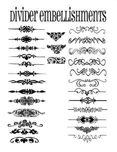 Divider embellishments - use to help you design labels.