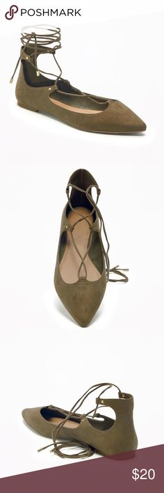 Lace up olive flats size 9 Old Navy lace up flats, size 9, color: olive Old Navy Shoes Flats & Loafers