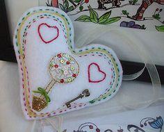 White Hand made Fabric Heart Tree Hearts Key Valentine anytime by Anita £5