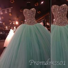 Princess mint green tulle strapless long prom dress,beaded puffy ball gown…
