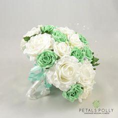 Artificial Wedding Flowers Mint Green & White Brides Bouquet Corsage Wedding, Flower Bouquet Wedding, Wedding Favors, Our Wedding, Wedding Ideas, Bride Flowers, Bride Bouquets, Homecoming Corsage, Mint Green Flowers
