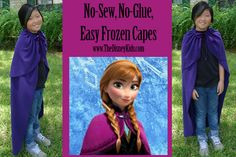 Learn how to make your own DIY No sew Anna Cape on www.TheDisneyKids.com. This project also uses no glue and is super easy! ©TheDisneyKids
