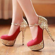 Round Closed Toe Platform Stiletto High Heels Red