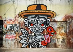 Mexican street art culture These murals are absolutely amazing. Inspired by Mexican culture such as skulls, day of the dead, Papel Picado tales and legends, street artist Neuzz aka Miguel Mejía is worth keeping an eye on. 3d Street Art, Murals Street Art, Amazing Street Art, Street Art Graffiti, Street Artists, Art And Illustration, 3d Art, Urbane Kunst, Graffiti Artwork