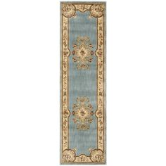 Aubusson Collection Light Blue Runner Rug (2'3 x 8')