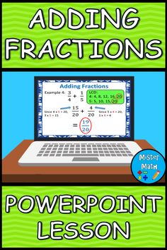 PowerPoint Presentation to assist students in learning about adding fractions. The 17-slide PowerPoint includes steps for adding fractions with like and unlike denominators, examples of each skill, and word problems to help students connect the skill to real-life. Two different strategies are taught for adding fractions with unlike denominators: the LCD Method (Least Common Denominator), and the Butterfly Method. Presentation also comes fully animated, with animations triggered by mouse…