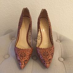 PM Editor Kate Spade Lana eyelet tan leather pumps PM Editor share Kate Spade Lana gorgeous eyelet leather heels. Soft tan vacchetta leather with 4 inch heels. Made in Italy. Kate Spade style number s1041548b. Delicate feminine style with eyelet cutouts and scalloped top line. Full leather including soles. Some wear to heel covers and soles, and minor light scuffs on tips of toes. kate spade Shoes Heels