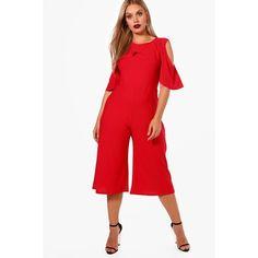 7da702e439c Boohoo Plus Eve Crepe Ruffle Culotte Jumpsuit (71 SAR) ❤ liked on Polyvore  featuring