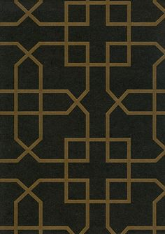Siam Trellis Wallpaper Black wallpaper with gold trellis design/white version for Master bathroom