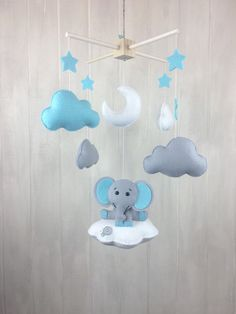 Elephant mobile baby mobile cloud mobile by JuniperStreetDesigns