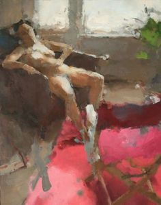 """Interior with Woman and Red Carpet, II"" - Jordan Wolfson, oil on linen, 2005 {figurative #impressionist art seated discreet nude female abstract relaxed woman cropped painting}"