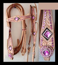 Western Bridle Horse Tack Pink Crystal Headstall 3pc Set show circle y - I need this!! Would look great on my blue roan :)