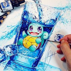 An amazing Squirtle piece by @nashimanga _ Follow @artistic_unity_ _