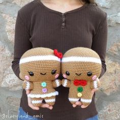 Sugar and Spice, the Gingerbread Twins! Spice is very excited to introduce you to his sweet sister, Sugar! What do you think? I'm very pleased with how she turned out! Now I'm all ready to make my next #ChristmasInJuly animal! . . . . . . #makersgonnamake #amigurumipattern #crochetpattern #sugarandspice #gingerbreadman #christmas #amigurumi #amigurumilove #amigurumist #crochet #crocheted #crocheter #crochetersofinstagram #instacrochet #ilovecrochet #storylandamis #handmade #handmadetoys #h