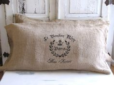 PAIR of French Quarter Burlap Bed Pillow Slip Cases/Shams... size KING or Standard