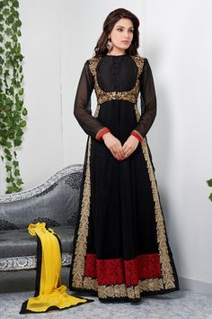Black Semi Stitched Floor Length Anarkali Suit