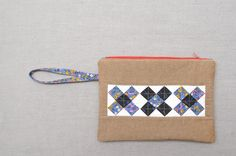 Cross Blocks Zipper Pouch Tutorial