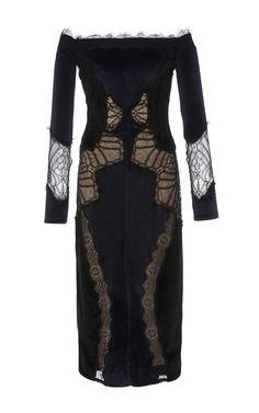 Off Shoulder Velvet Lace Dress by JONATHAN SIMKHAI for Preorder on Moda Operandi