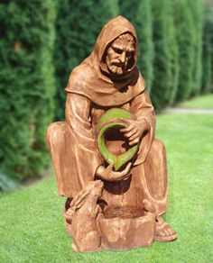 Religious statues: Saint Francis of Assisi - St. Francis Fountain from the inspirational Glimpses of God collection by Layhou Lam. Feast Of St Francis, St Francis Statue, Francis Of Assisi, Saint Francis, Tree Carving, Wood Carving, Prayer Garden, Life Size Statues, Animal Statues