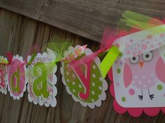 Happy Pink Owl Happy Birthday and Name Banner by BurleyGirlDesigns
