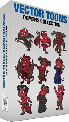 Demons Collection :  Bundle of images includes the following:  A red devil whispering a secret A red devil with black bat wings brown hair thick eyebrows and beard pointed ears fangs and horns coming out of his forehead wearing a black robe and sandals holds a red trident in his left hand as he leans forward and swings his left foot back while trying to whisper something  A happy red devil A red devil with black hair pointed ears fangs and horns coming out of his forehead wide red wings and…