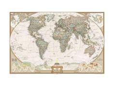 Politisk verdenskart, gammel stil Kunsttrykk