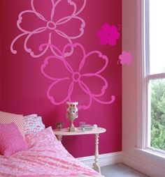 Tropical Flowers wall decals stickers- used projector and painted similar flower on Haddy's wall