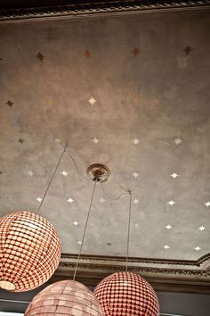 designmeetstyle: dustjacketattic: gold star ceiling and paper lanterns | photo karel balas Take the painted ceiling a step further with a metallic specialty finish and stencils. http://ift.tt/1o7Dd6e