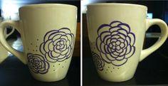 DIY sharpie mug. Flowers