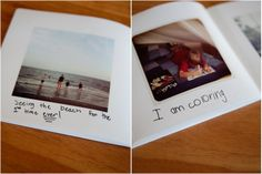 I love this idea, put one or two pics on each page and have your child write captions! perfect for their own picture books.